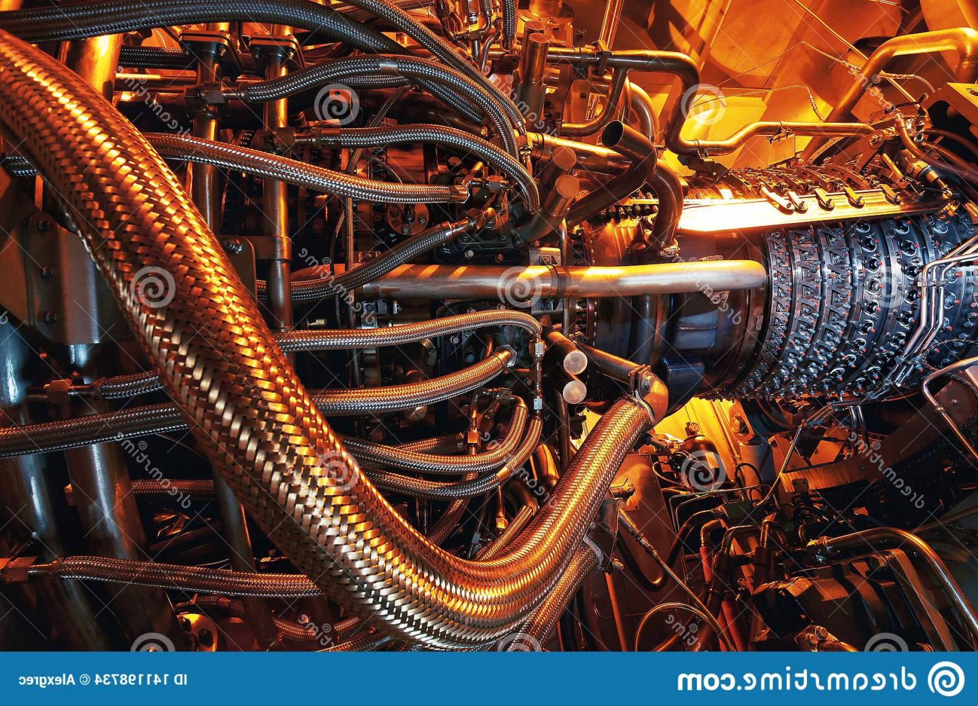Concept Axial Vector Engine: Gas Turbine Engine Located Inside Aircraft Clean Energy Power Plant Used Offshore Oil Refining Central Platform Image
