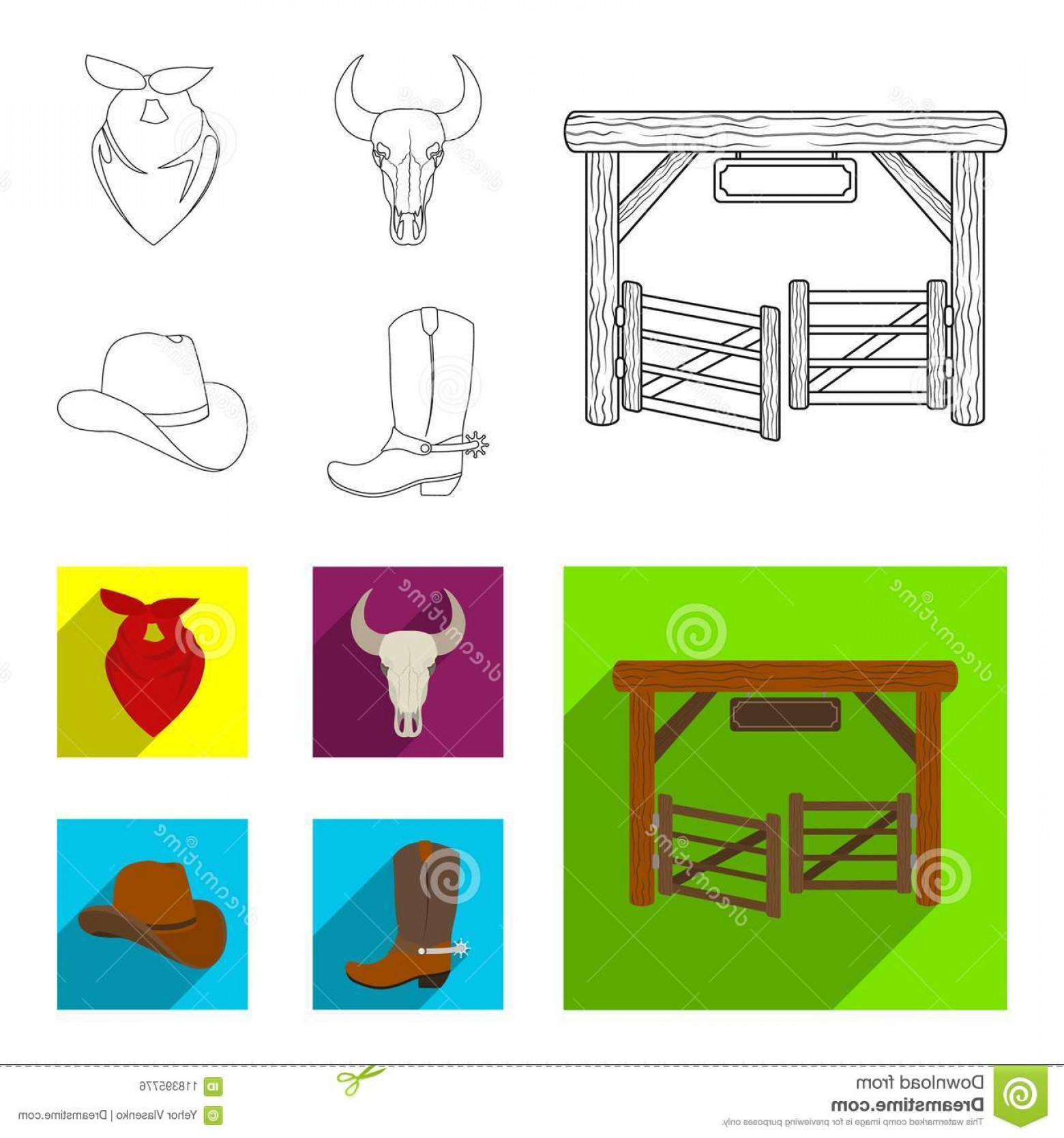 Spurs Clip Art Vector: Gates Bull Skull Scarf Around His Neck Boots Spurs Rodeo Set Collection Icons Outline Flat Style Vector Gates Bull Image