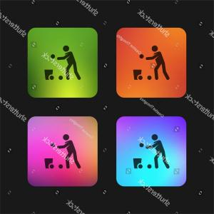 Vector Vector Running Game App: Game Four Color Gradient App Icon