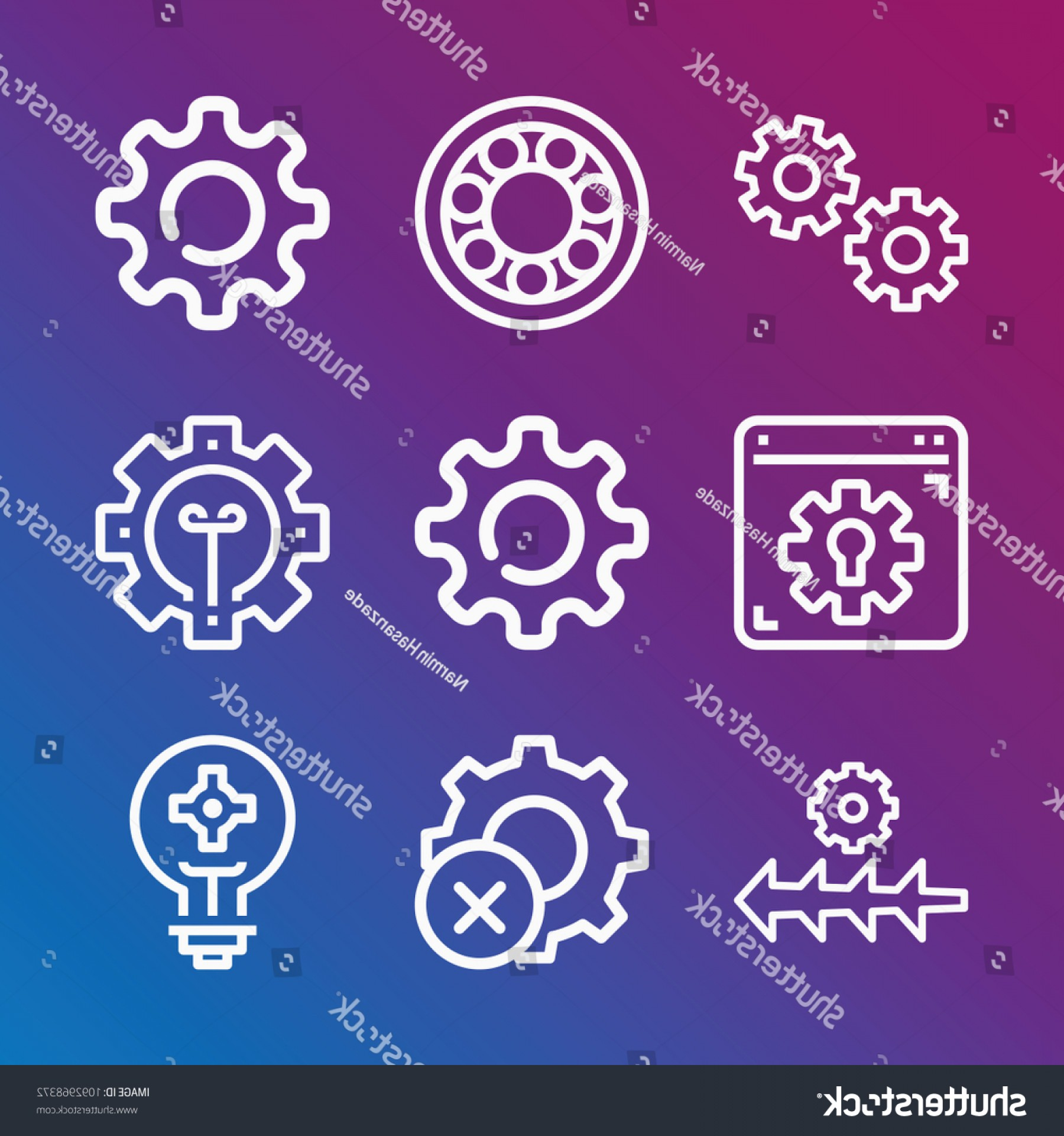 Gear Vector Icons Large: Gear Icon Set Outline Collection