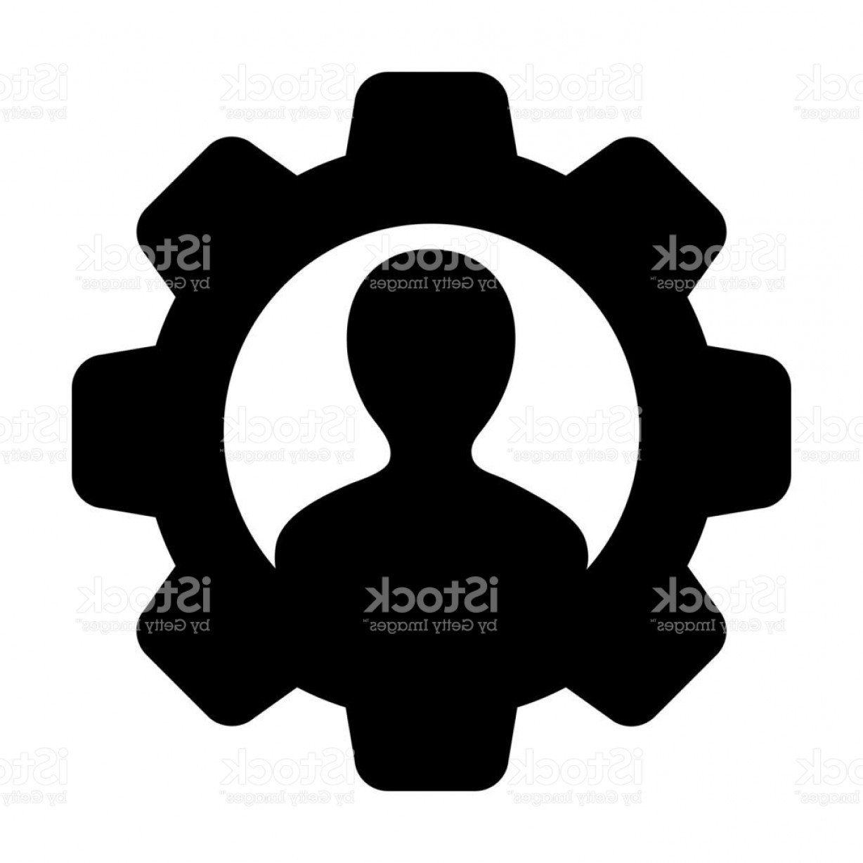 Vector Configuration: Gear Icon Vector Male User Person Profile Avatar Symbol On Cog Wheel For Settings Gm