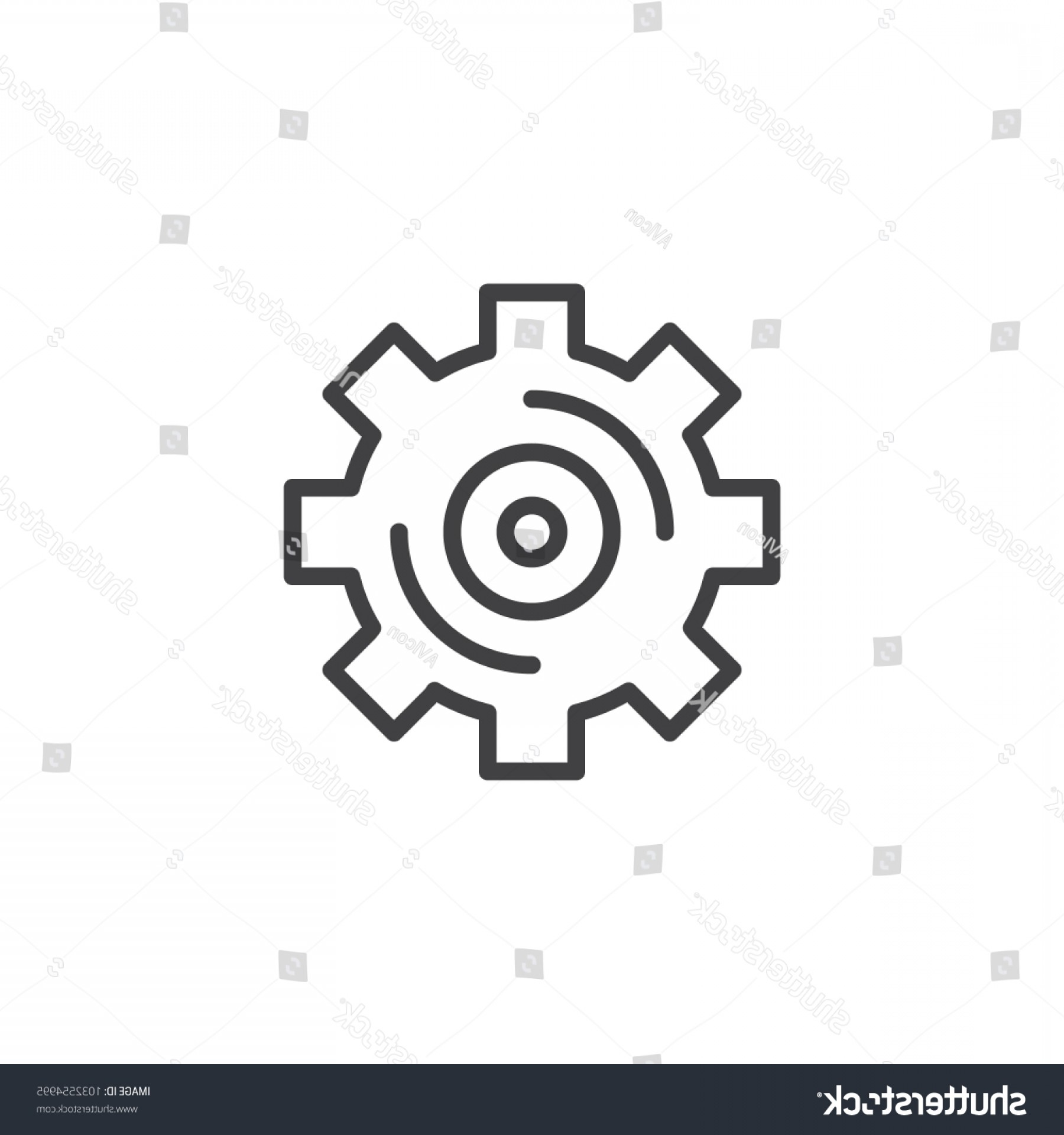 Setting Sun Vector Outline: Gear Outline Icon Linear Style Sign