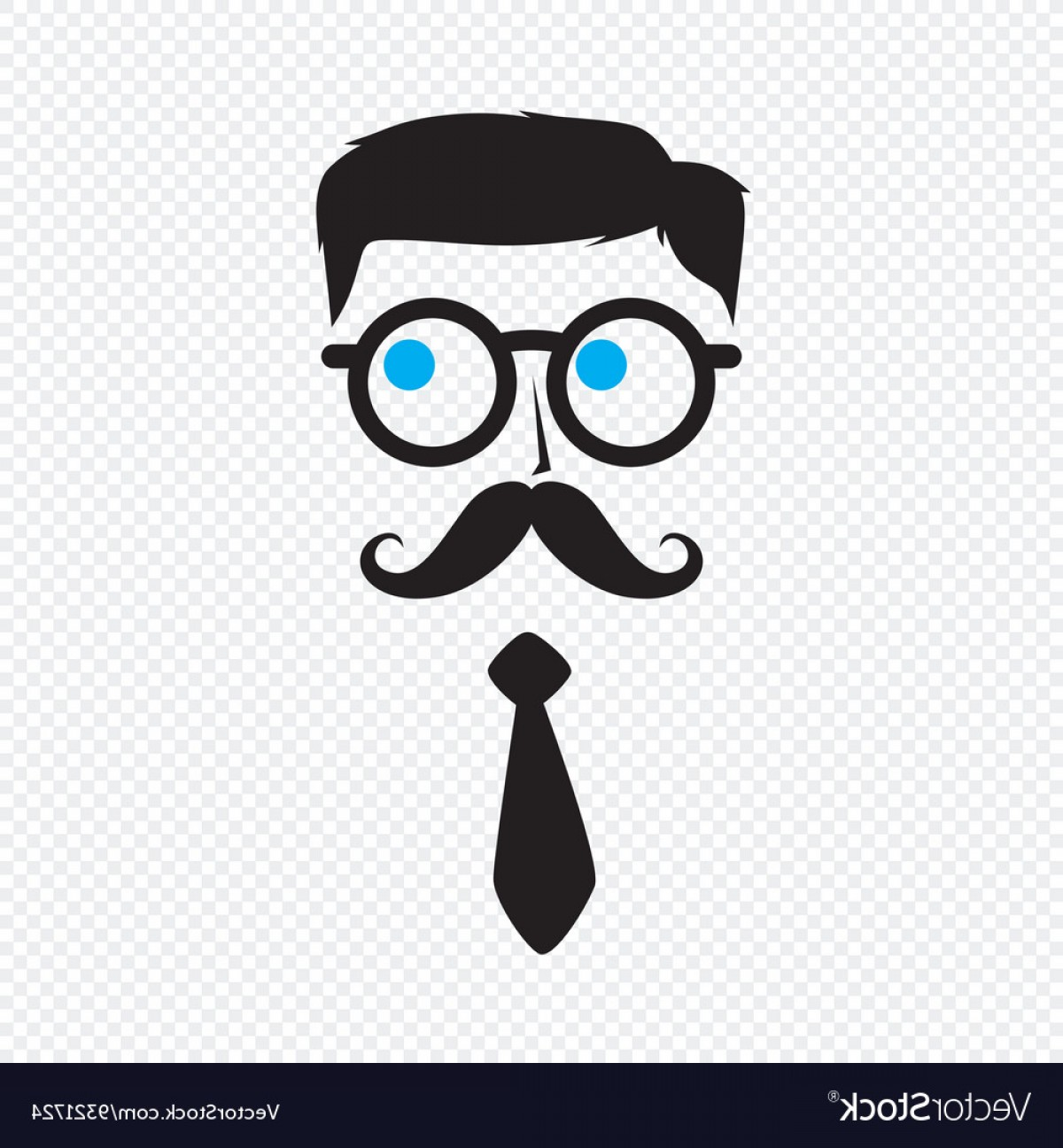 Nerd Vector: Geek Nerd Guy With Mustache Vector