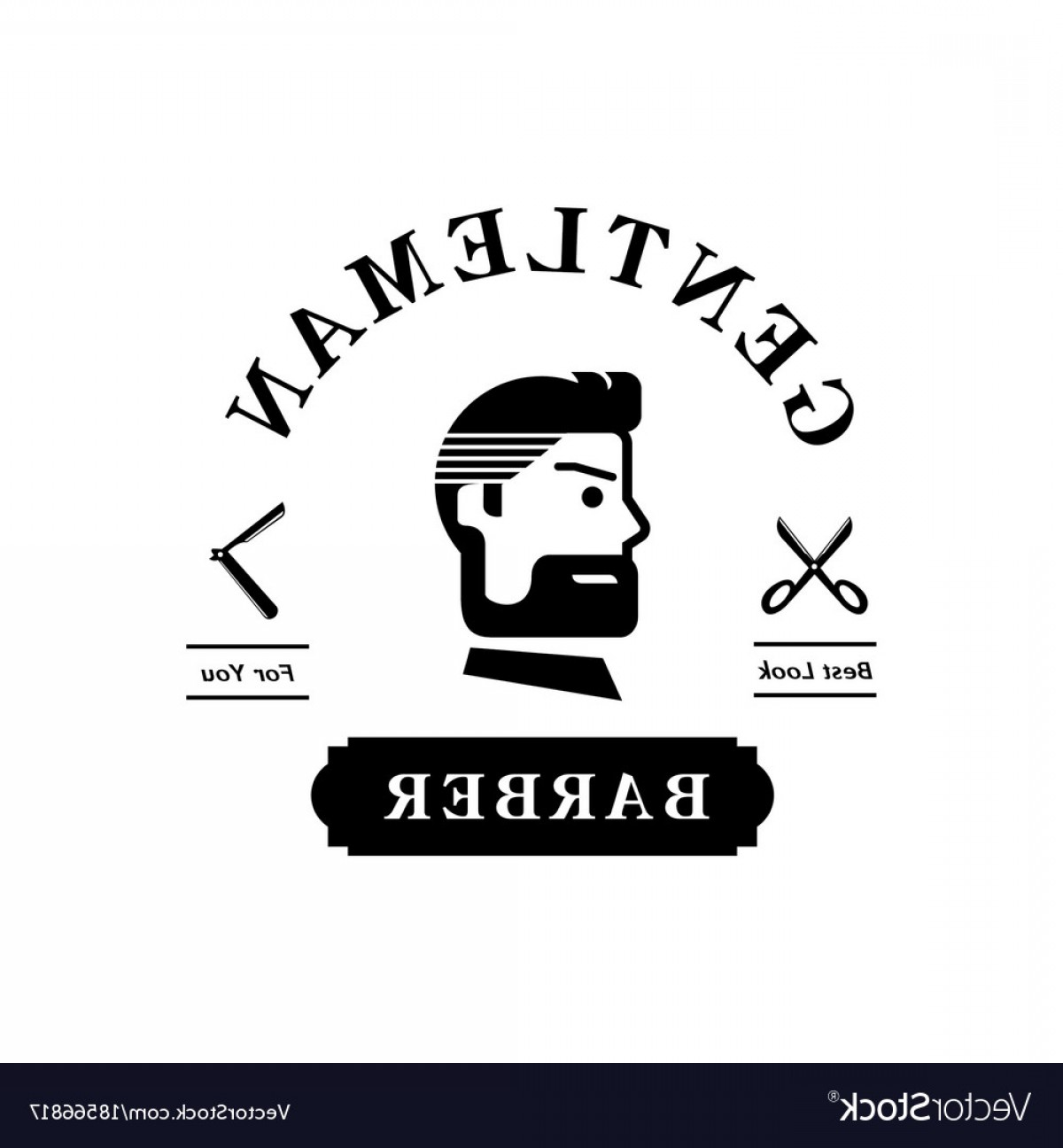 Handsome Man Vector Outline: Gentleman Barber Logo With Handsome Man Vector