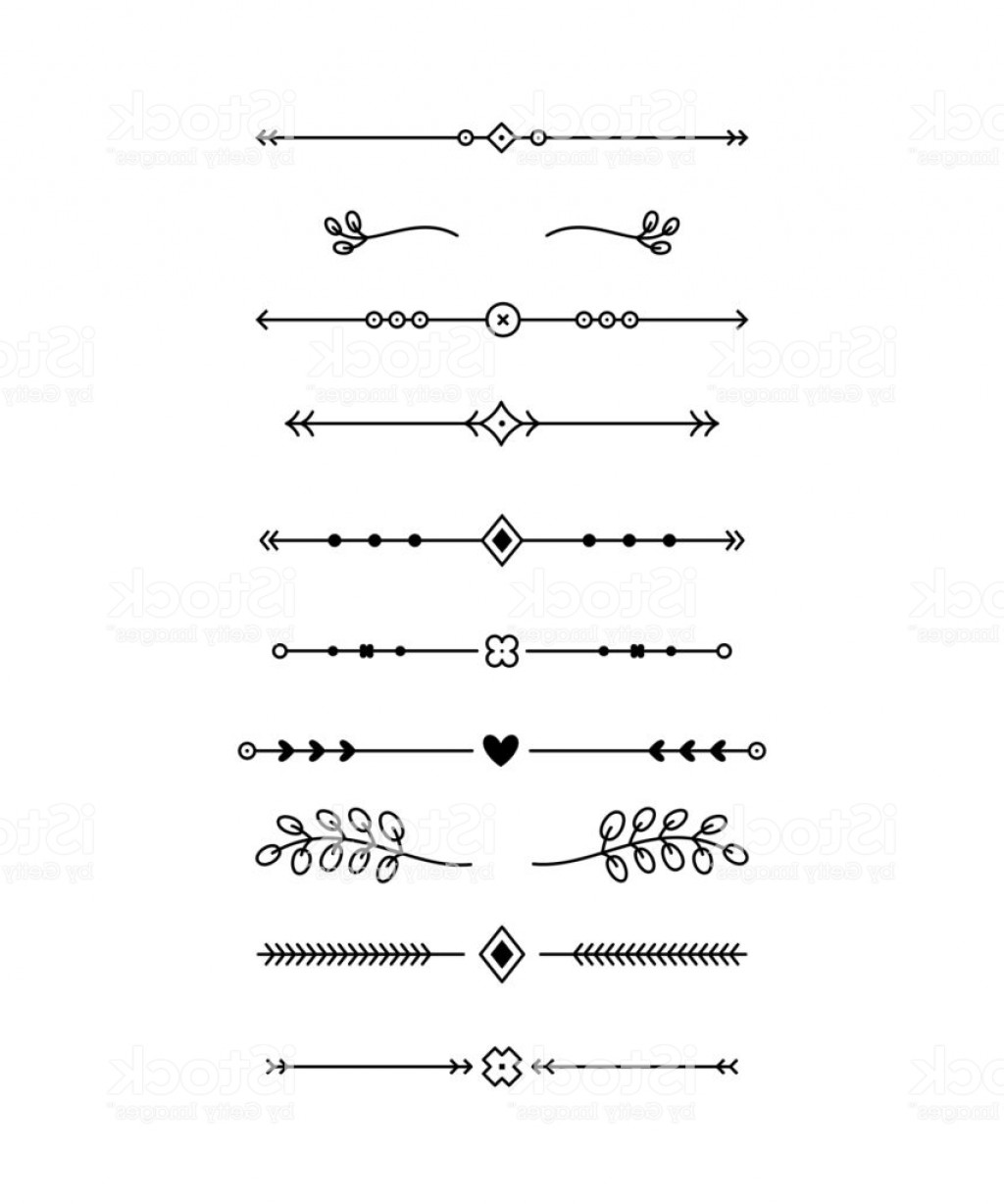 Decorative Text Vector: Geometric And Floral Horizontal Decorative Text Dividers Vector Set Gm