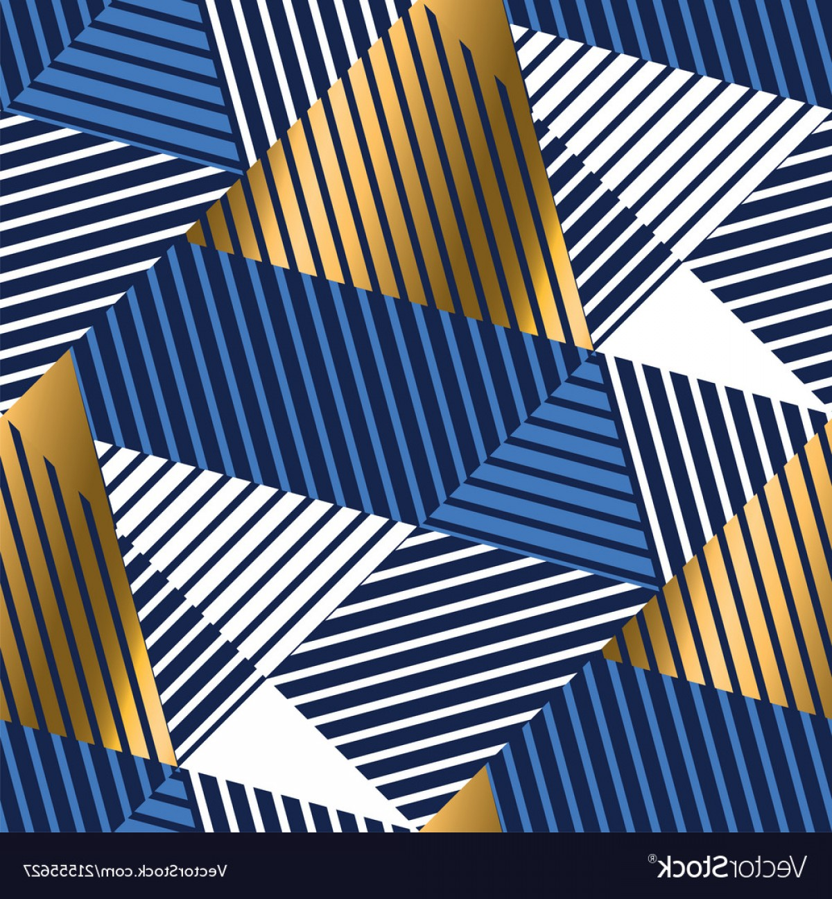 Vector Blue Luxury: Geometric Gold And Blue Luxury Seamless Pattern Vector