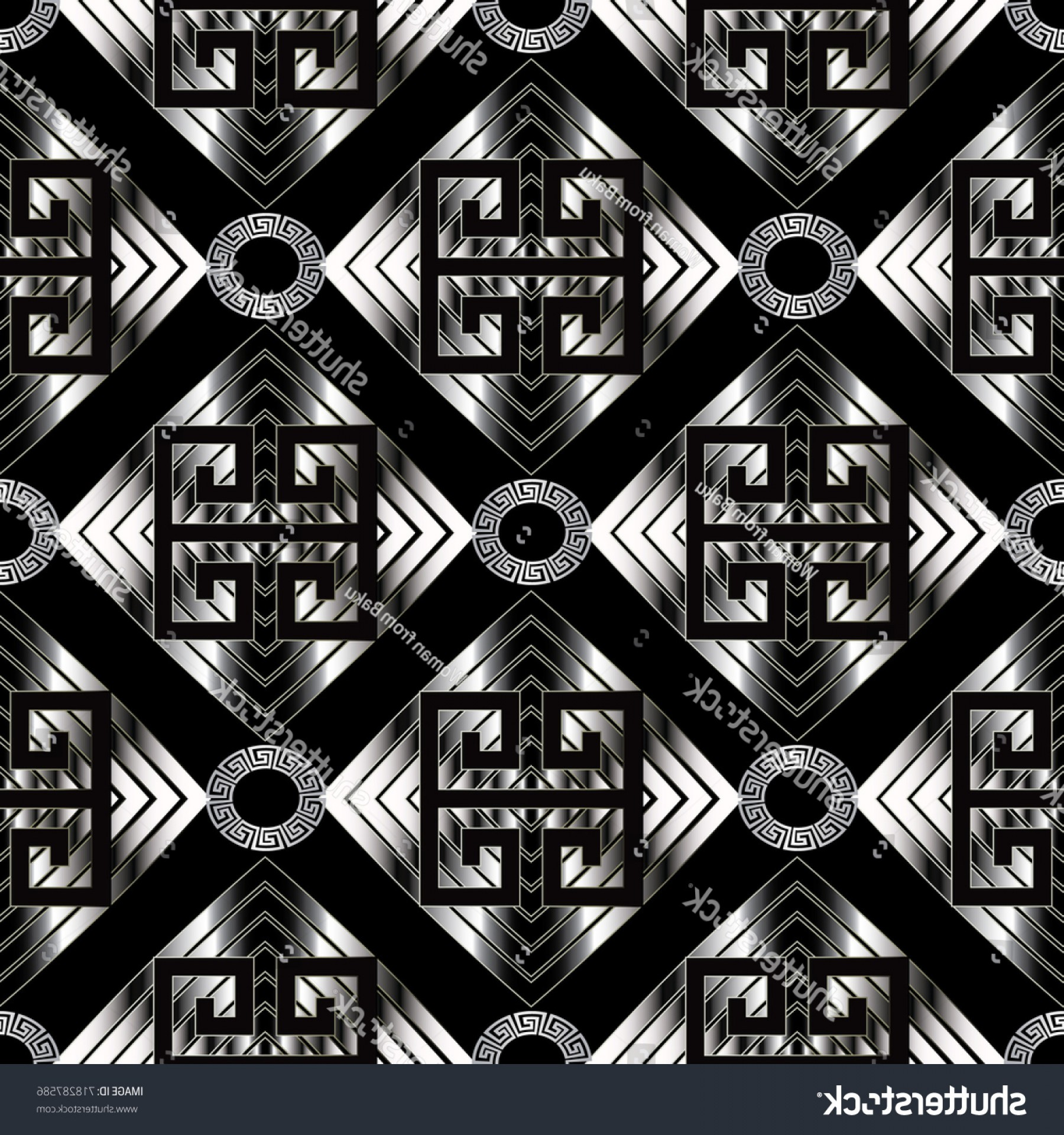 Vector Geometric Abstract Shapes Phone Wallpapers: Geometric Meander Seamless Pattern Black Vector