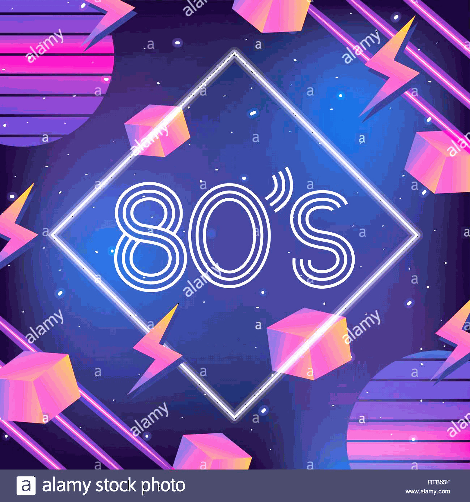 Vectorgraph 80s: Geometric Neon Style With S Graphic Image