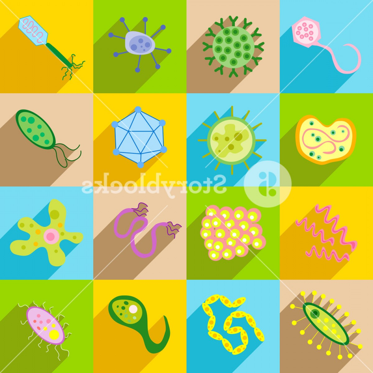 Vector Pathogen: Germ And Pathogen Icons Set In Flat Style Virus Cells Bacillus Set Collection Vector Illustration Hzhloadigjfsqo
