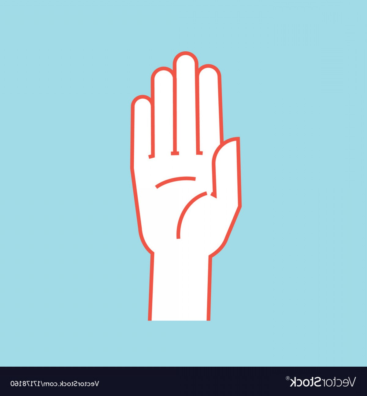 Hand Stop Vector Teal: Gesture Stop Sign Stylized Hand With All Fingers Vector