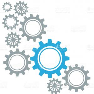 Vector Gear Graphics: D Blue Red And Yellow Gear Cogs