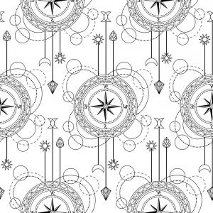 Mandala Vector Simple Compass: Geometric Compass Seamless Pattern Vector
