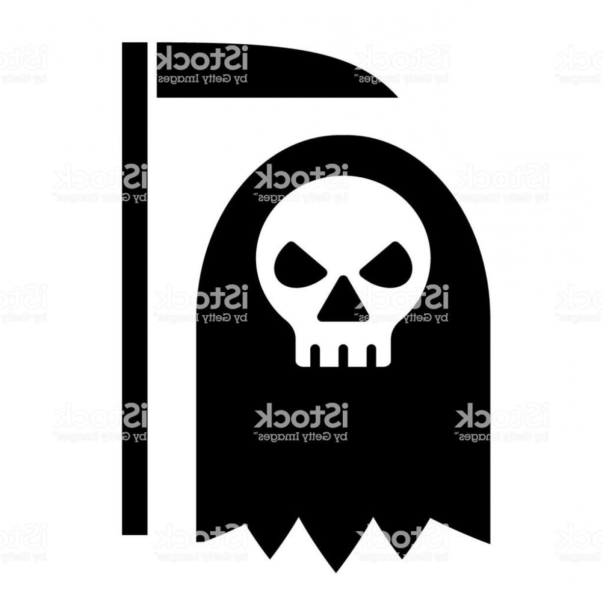 Spawn Vector: Ggrim Reaper Solid Icon Cemetery Vector Illustration Isolated On White Cross Glyph Gm