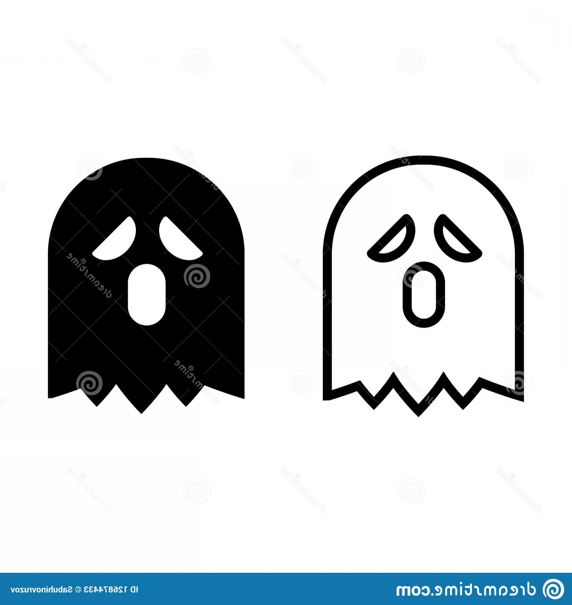 The Wraith Vector: Ghost Line Glyph Icon Phantom Vector Illustration Isolated White Wraith Outline Style Design Designed Web Ghost Line Image