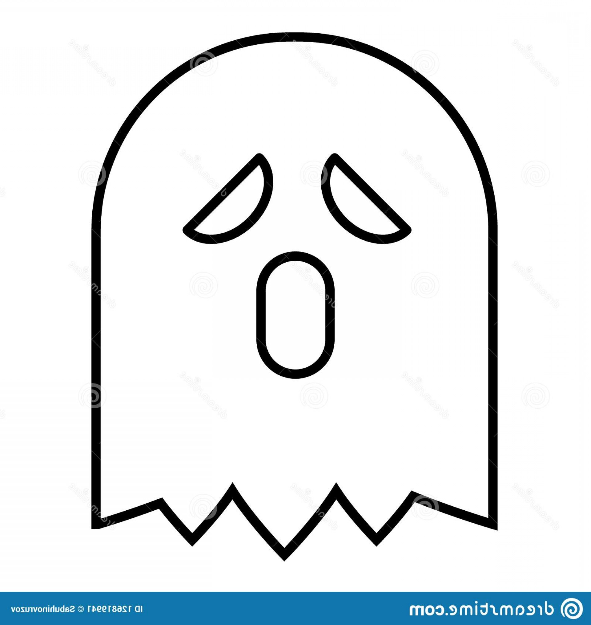 The Wraith Vector: Ghost Thin Line Icon Phantom Vector Illustration Isolated White Wraith Outline Style Design Designed Web Ghost Thin Image