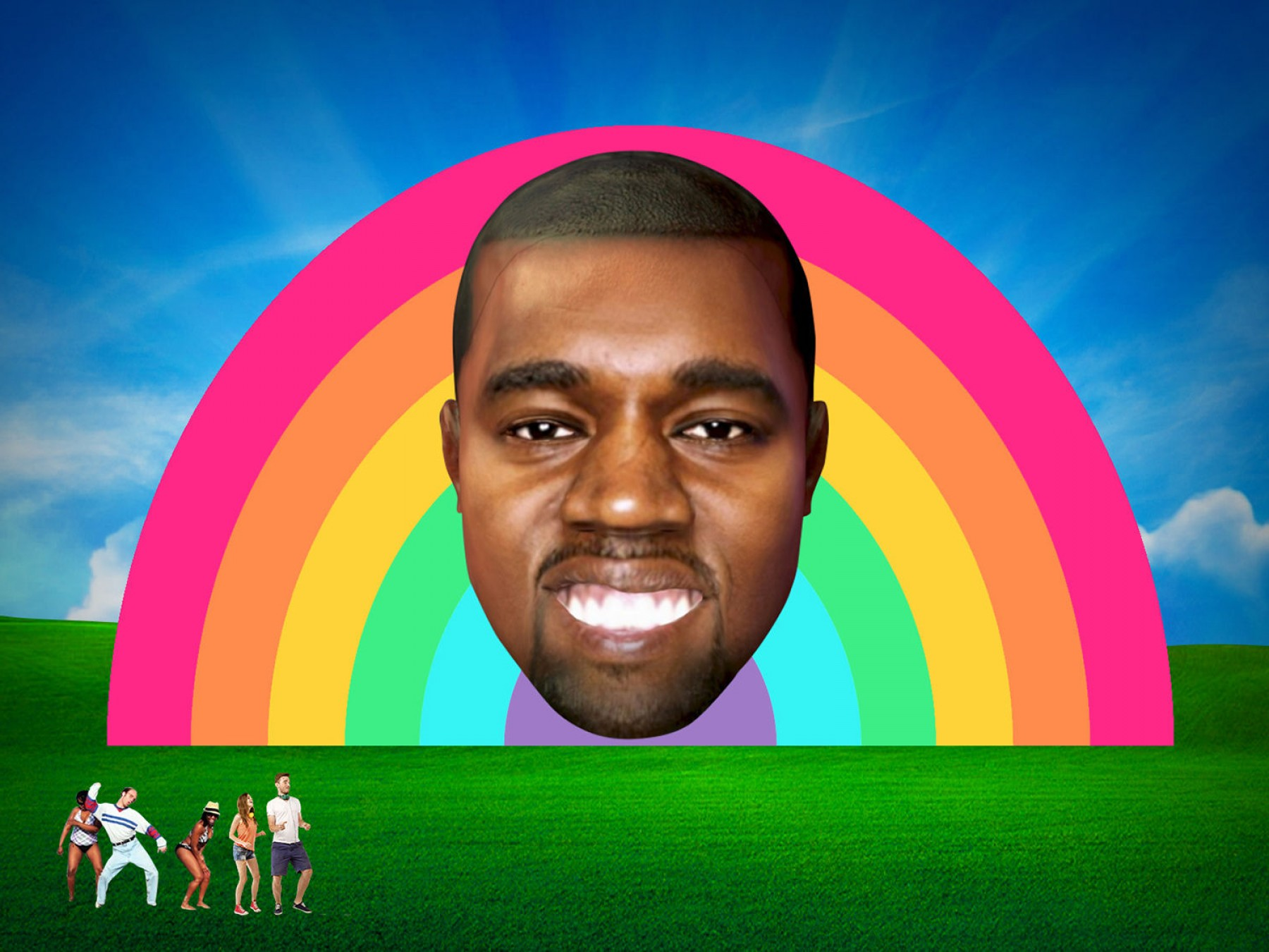 Kanye West Vector Paintig: Giant Inflatable Kanye West Head Appear This Years Bestival