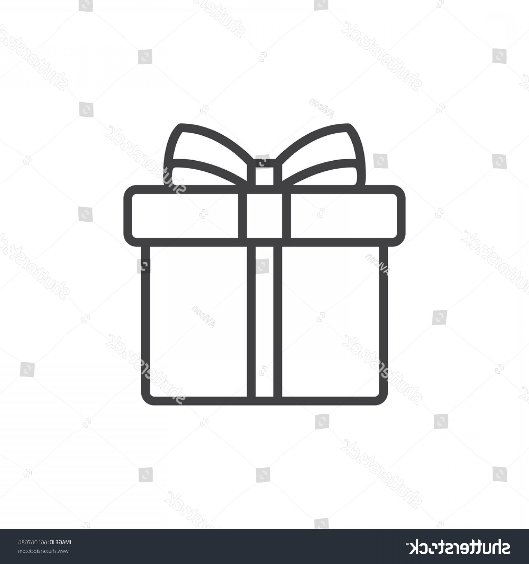 Box Outline Vector: Gift Box Ribbon Line Icon Outline