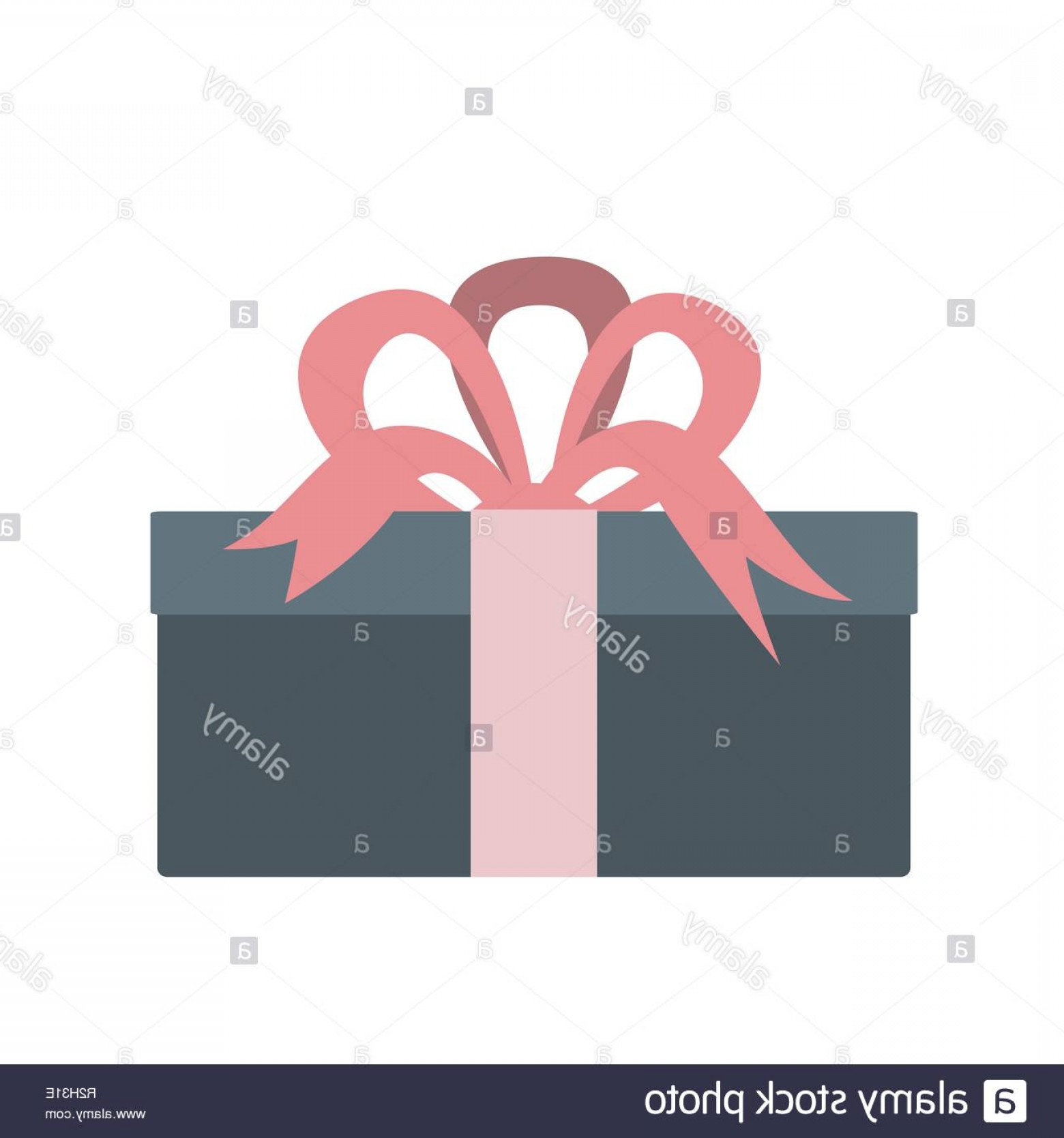 Pink Ribbon Vector Graphic: Gift Box With Pink Ribbon Vector Icon Flat Style Image
