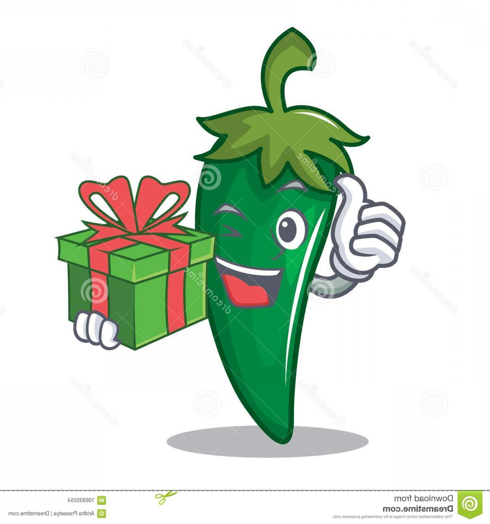 Massport Vector: Gift Green Chili Character Cartoon Gift Green Chili Character Cartoon Vector Illustration Image
