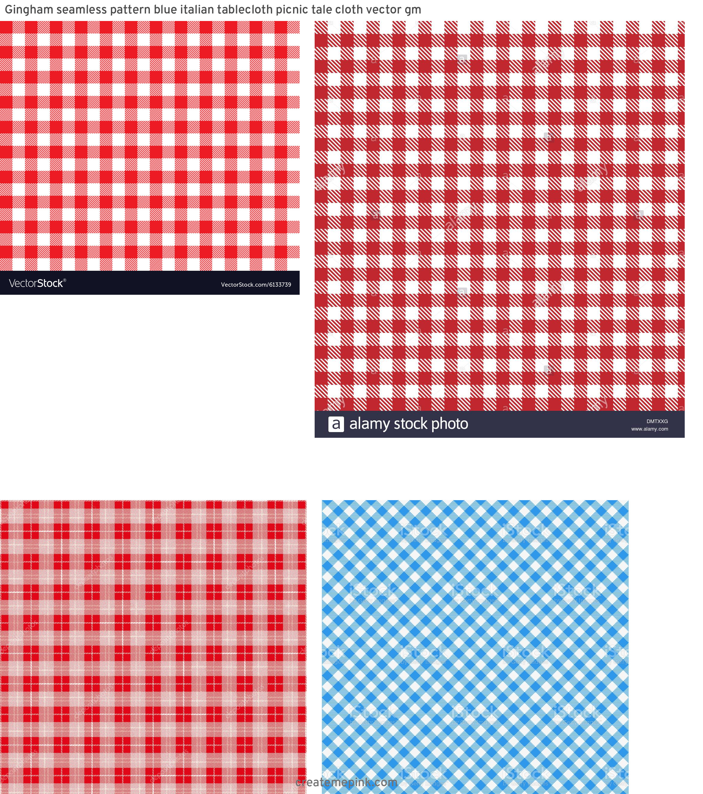 Picnic Cloth Vector: Gingham Seamless Pattern Blue Italian Tablecloth Picnic Tale Cloth Vector Gm