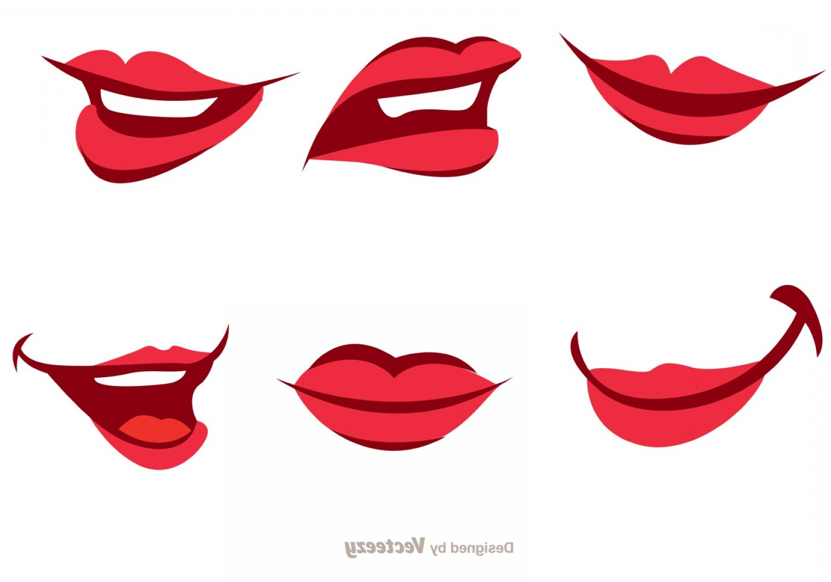 Vector Female Lips: Girl Cartoon Mouth Vector Pack