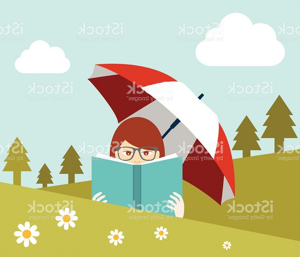 Flat Vector Art And Abstract Forest: Girl Reading A Book Near The Forest Flat Vector Gm