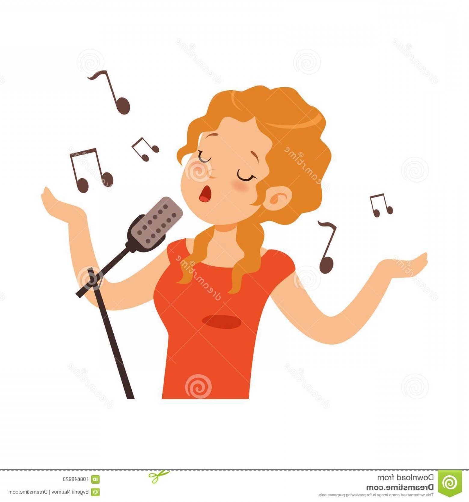 Singing Girls Vector Art: Girl Singing Microphone Singer Character Cartoon Vector Illustration White Background Girl Singing Microphone Image