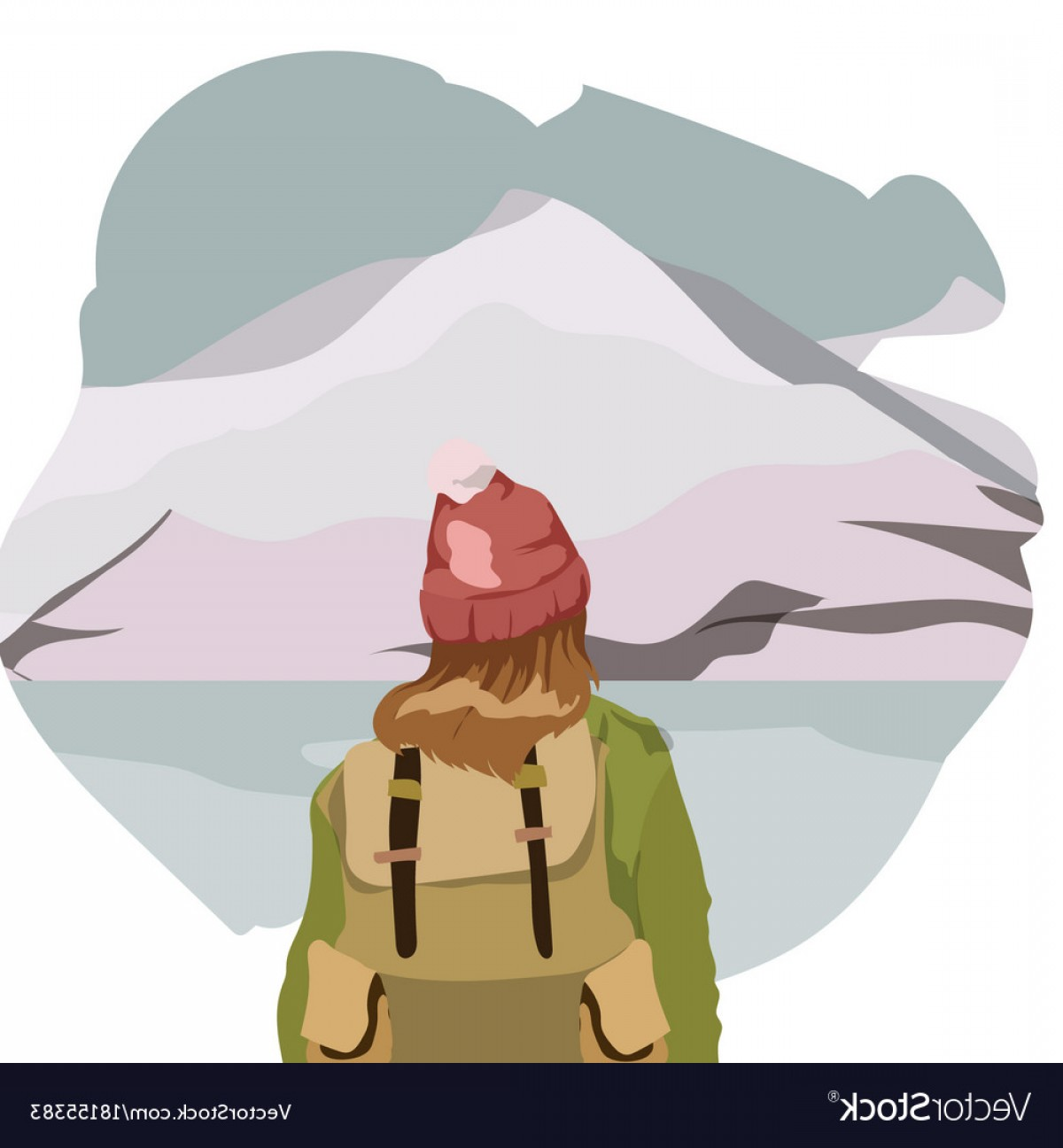 Mountain Trail Vector: Girl Walking Alone On A Mountain Trail Girl Looks Vector
