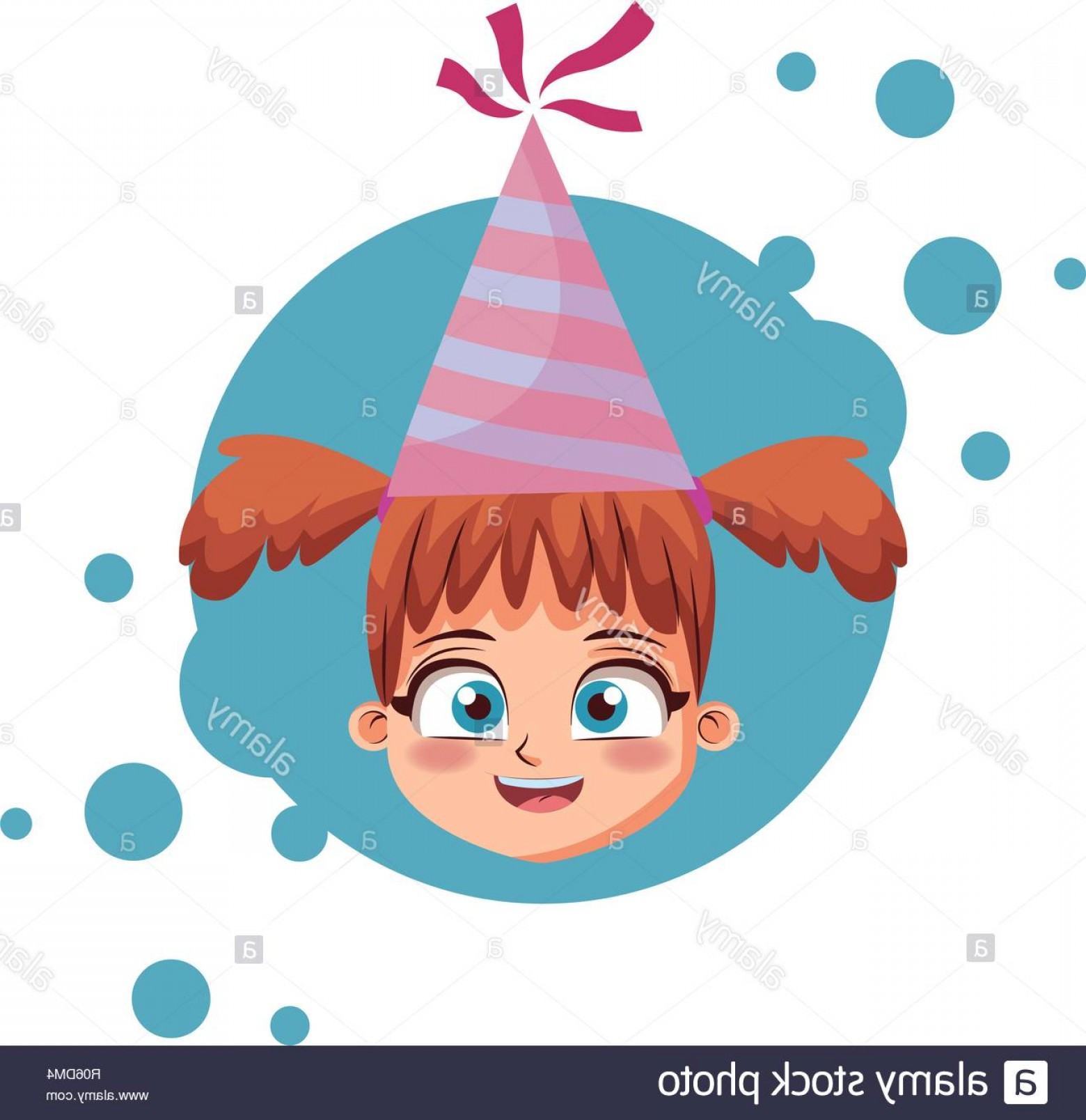 Teal Birthday Hat Vector: Girl With Birthday Hat Cartoon Over Blue Grunge Background Vector Illustration Graphic Design Image