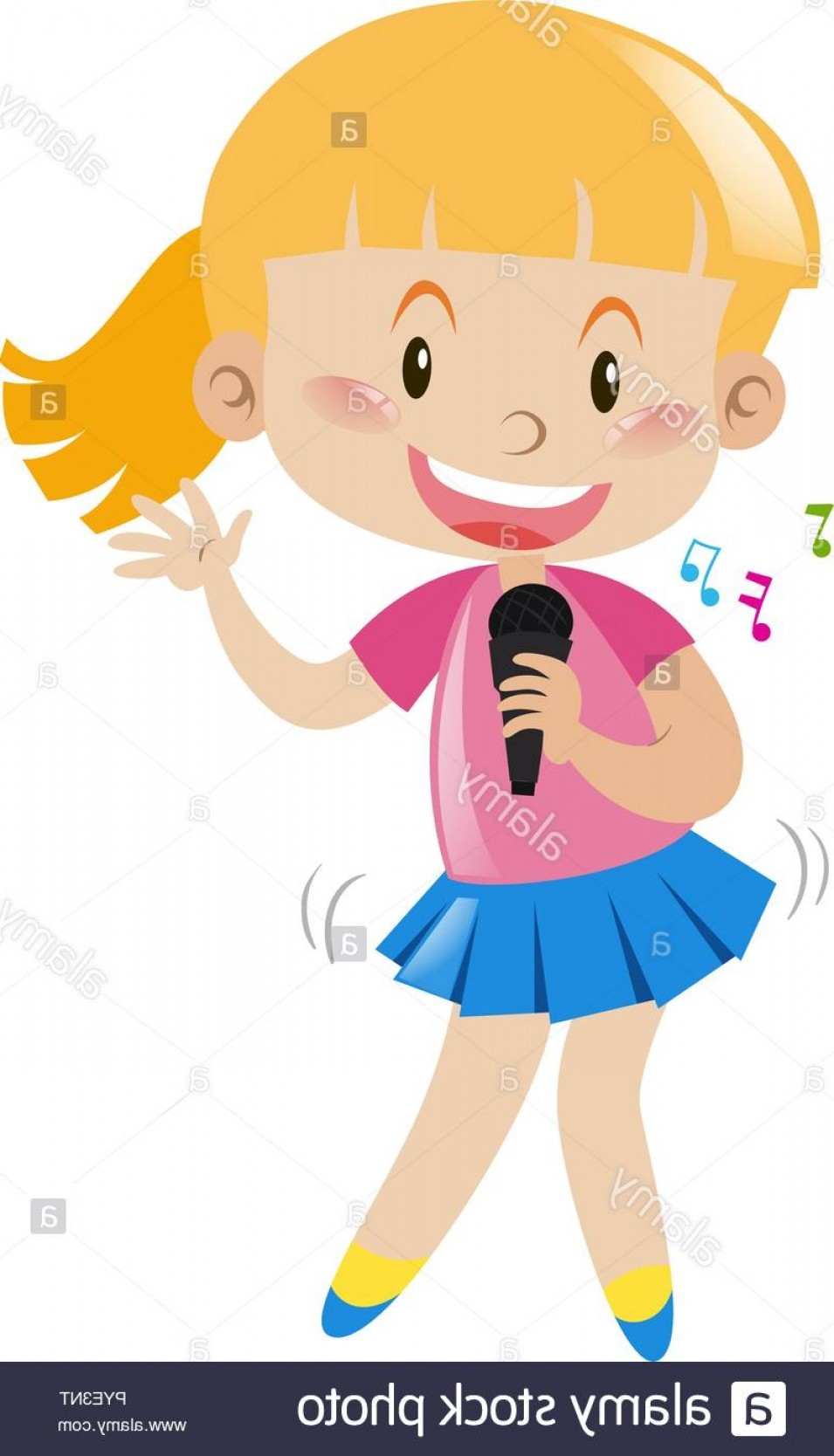 Singing Girls Vector Art: Girl With Microphone Singing And Dancing Illustration Image