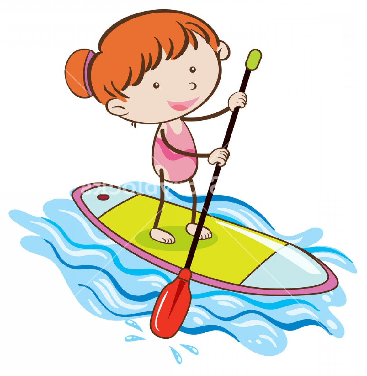 Paddleboard Vector Icons: Girl With Stand Up Paddle Board Bulxtmtzjglcx