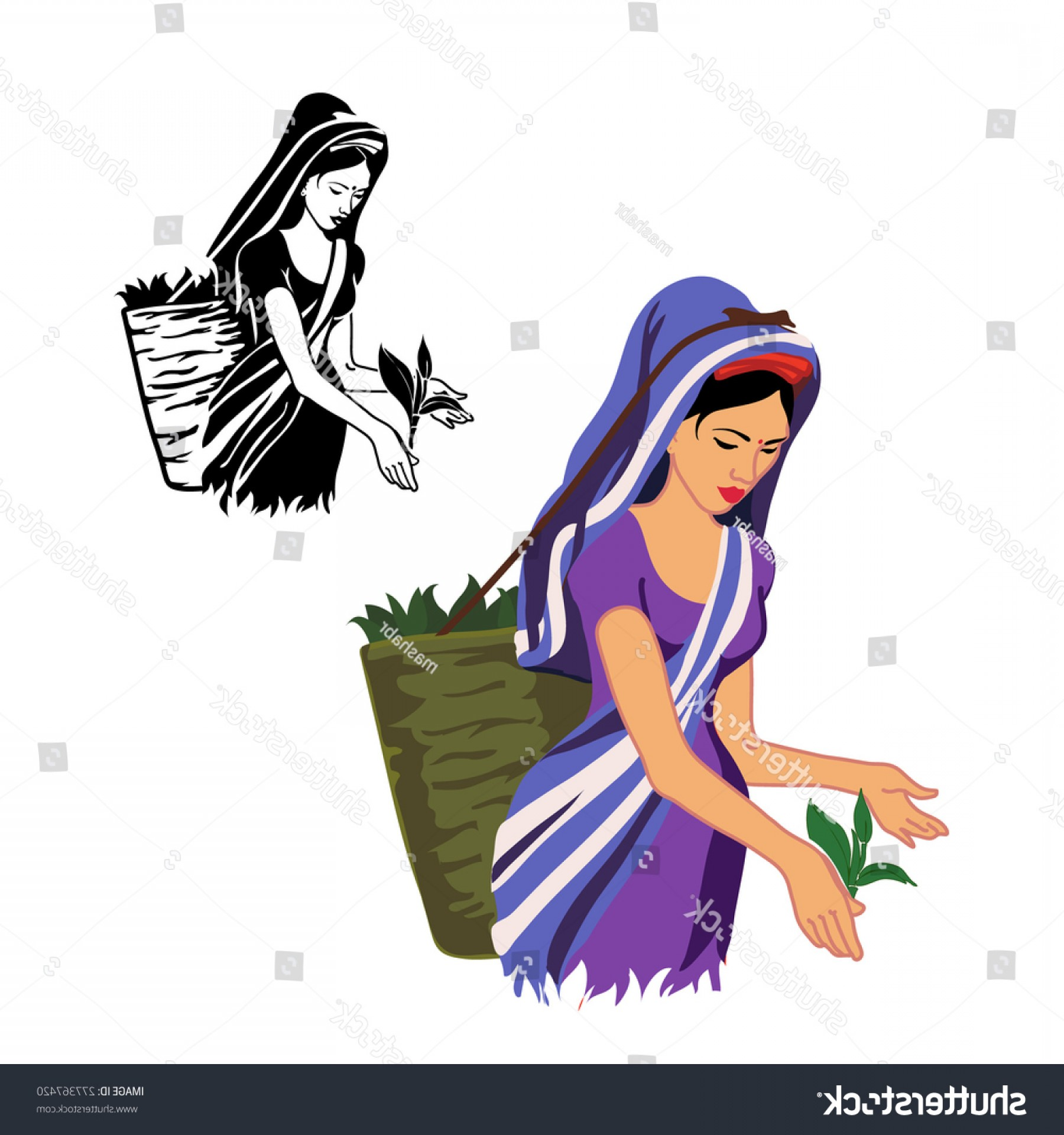 Color Guard Silhouette Vector: Girl Working Produce Tea Black White