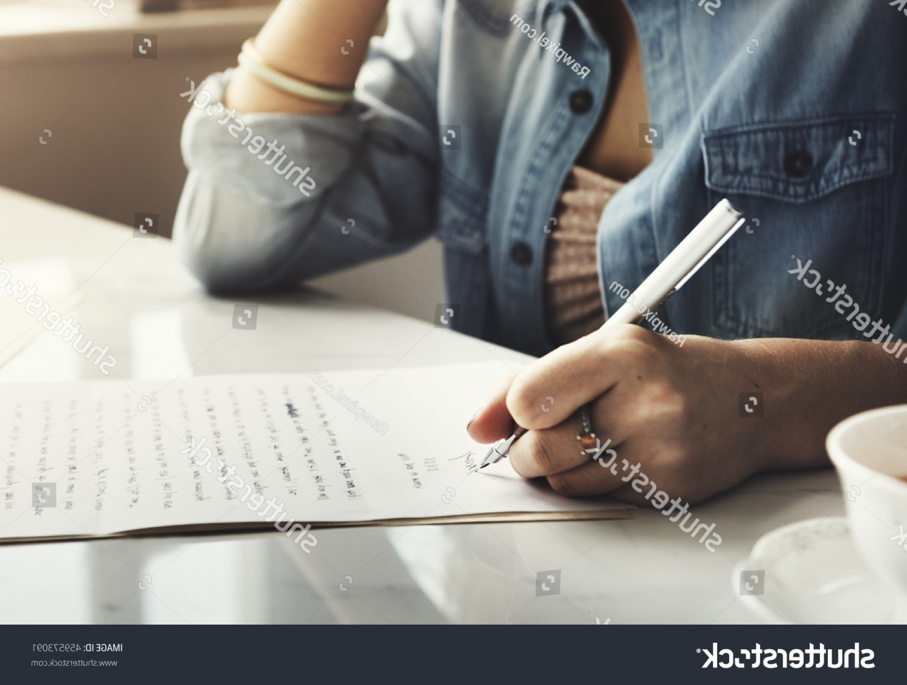 Denoting Vectors In Writing: Girl Writing Letter Home Concept