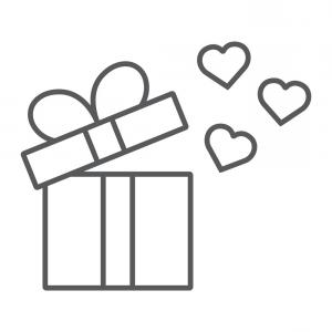 Thin Black Box Vector: Gift Thin Line Icon Love And Package Gift Box Vector