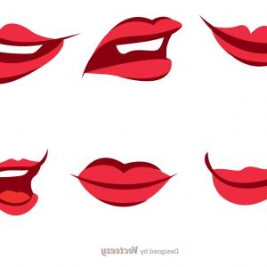 Vector Female Lips: Lips Silhouettes Trace Kiss Vector Clipart