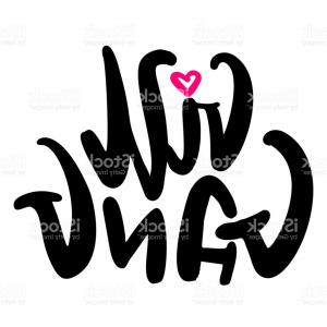 Gang Vector Graphics: Girl Gang Digital Lettering Vector Illustration With Heart Feminism Concept For Gm