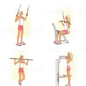 Vector Golf Simulator: Girl Performs Exercises To Strengthen Muscles Of The Biceps Using Different Gm