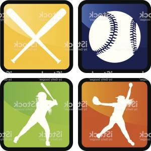 Softball Catcher Vector: Baseball Or Softball Club Badge Vector