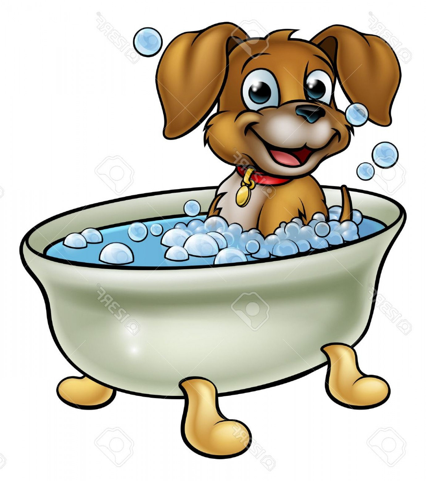 Dog Bubble Bath Vector: Glamorous Photostock Vector A Cartoon Dog Having A Bath With Lots Of Bubbles