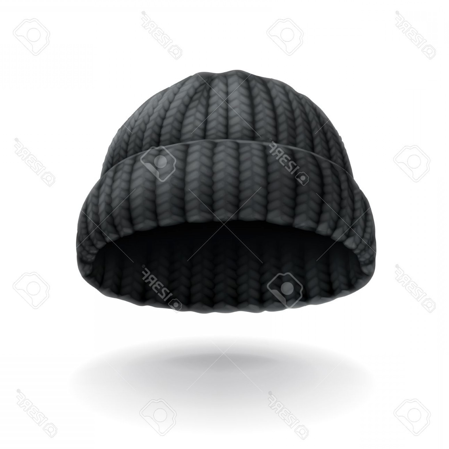 Stocking Hat Vector: Glamorous Photostock Vector Beanie Black Cap Vector Icon