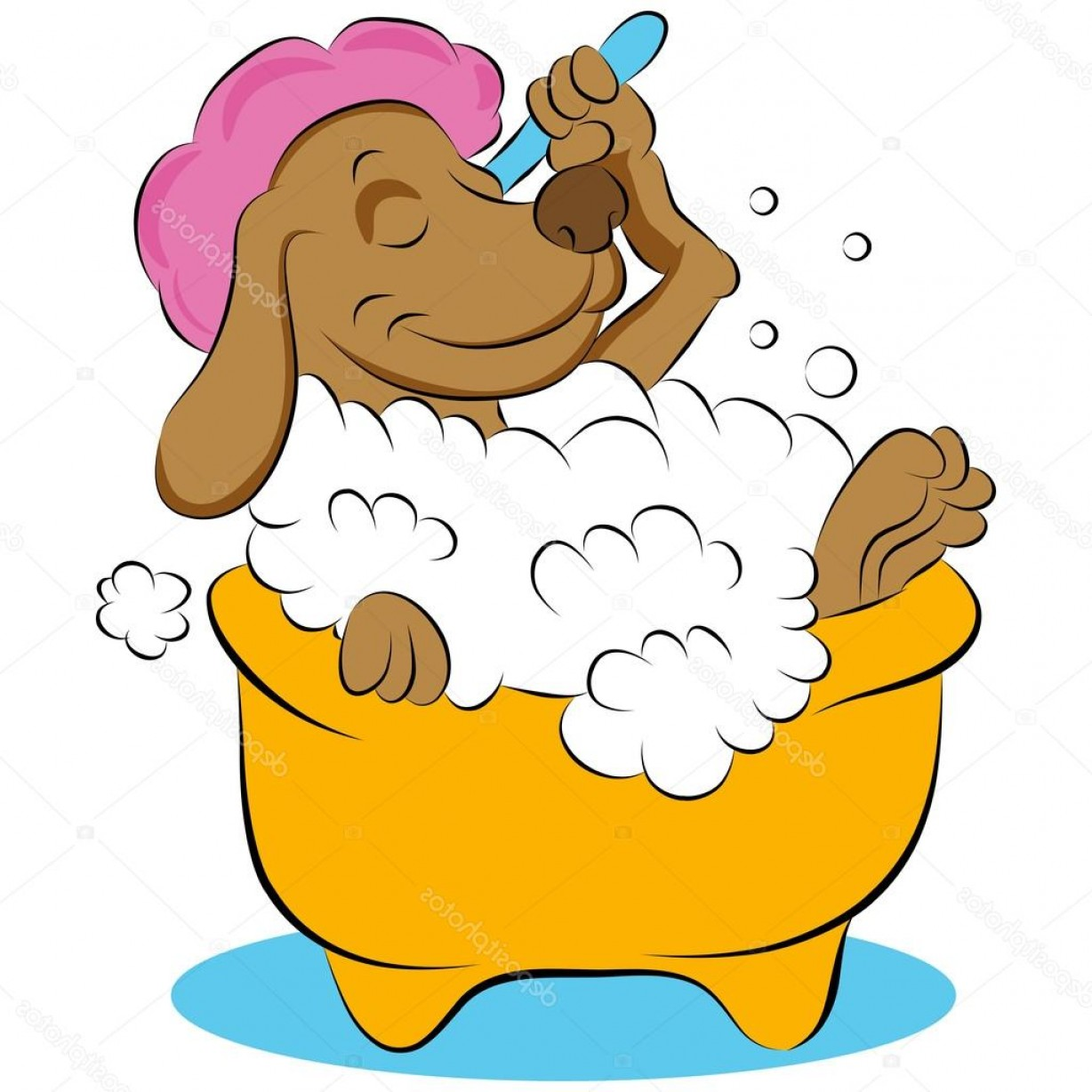 Dog Bubble Bath Vector: Glamorous Stock Illustration Dog Taking A Bubble Bath