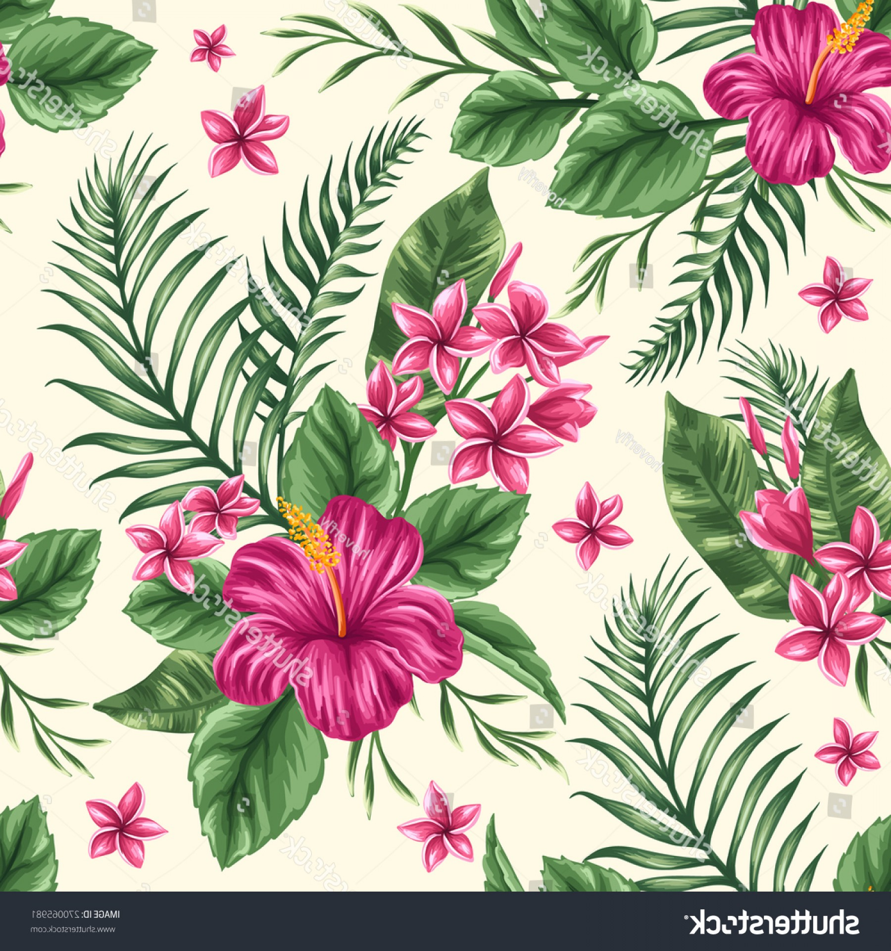 Hawaiian Flower Seamless Vector Pattern: Glamorous Tropical Floral Seamless Pattern Plumeria Hibiscus