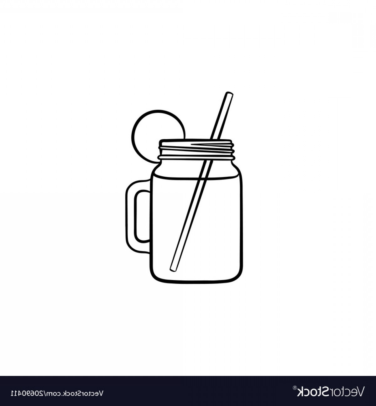 Mason Jar Outline Vector: Glass Jars Of Cocktail Hand Drawn Sketch Icon Vector