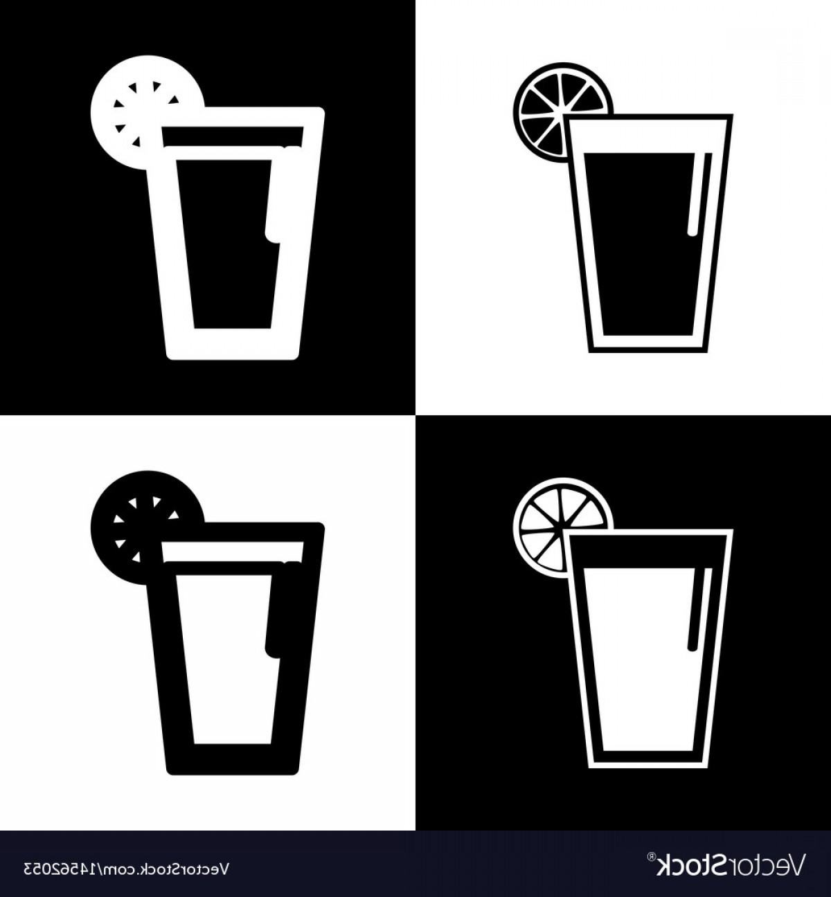 Juice Vector Black: Glass Of Juice Icons Black And White Vector