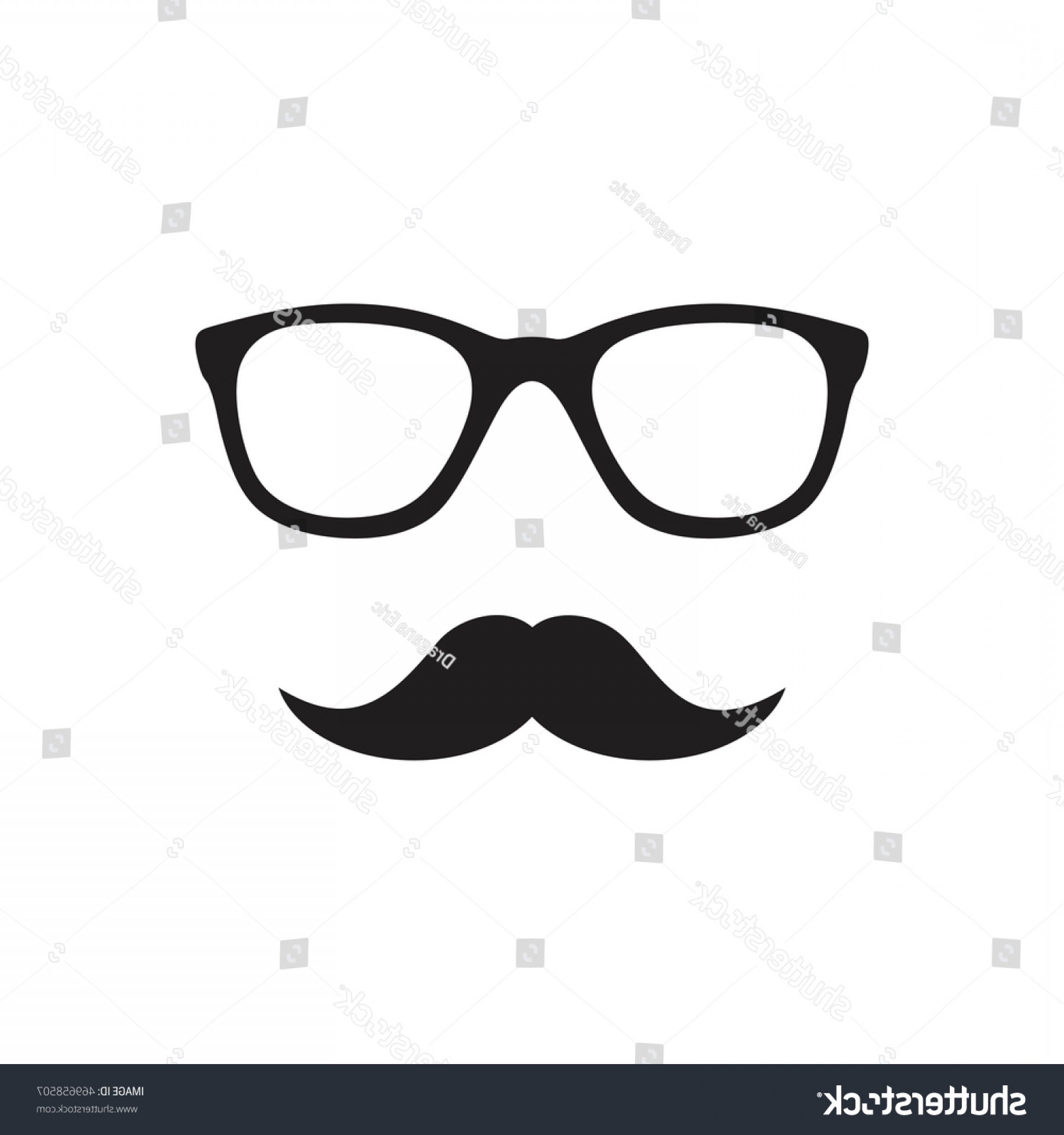 Mustache Face Vector: Glasses Mustache Hipster Symbol Flat Style