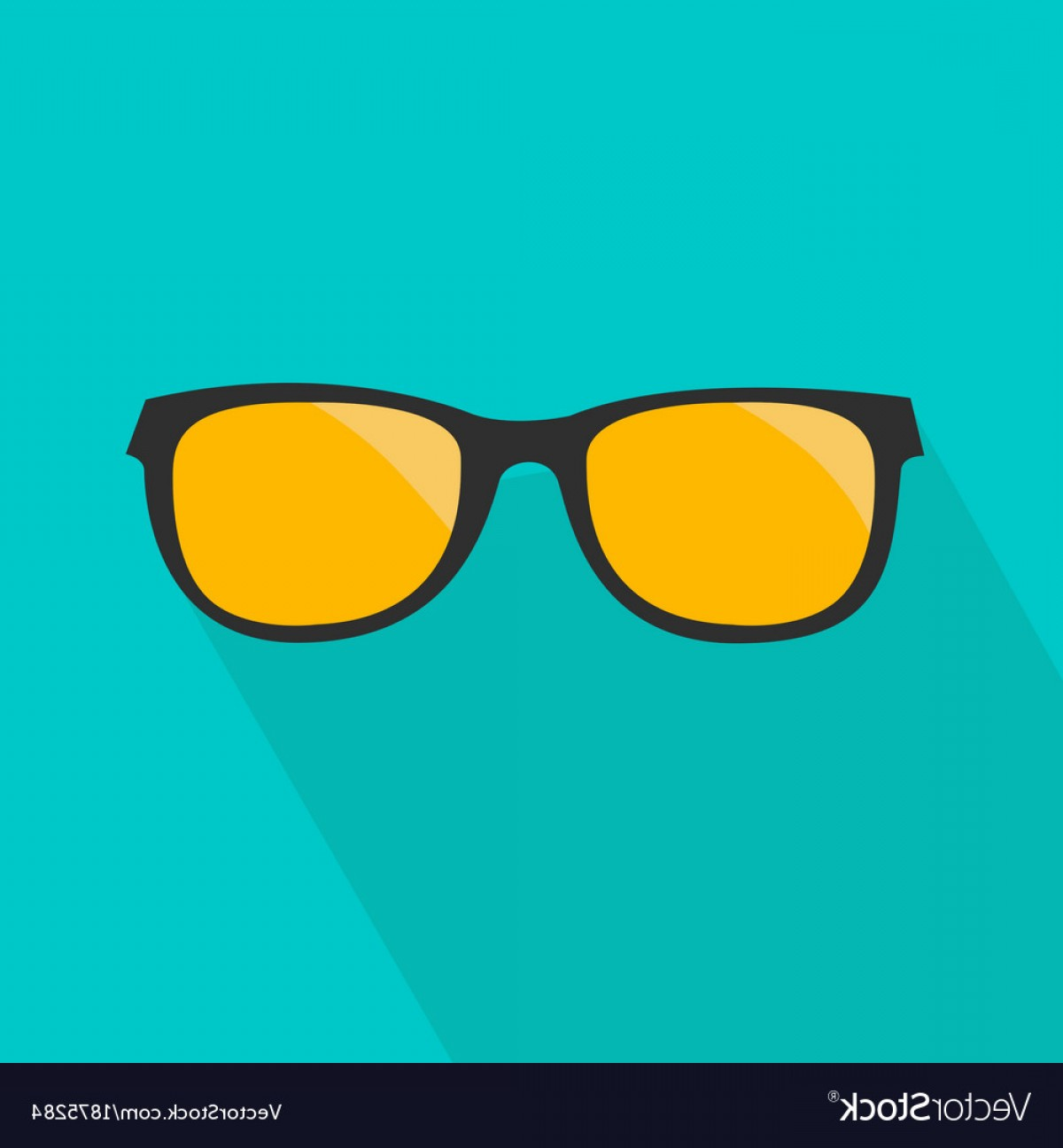 Glasses Vector Flat: Glasses With Yellow Lens Long Shadow Flat Design Vector
