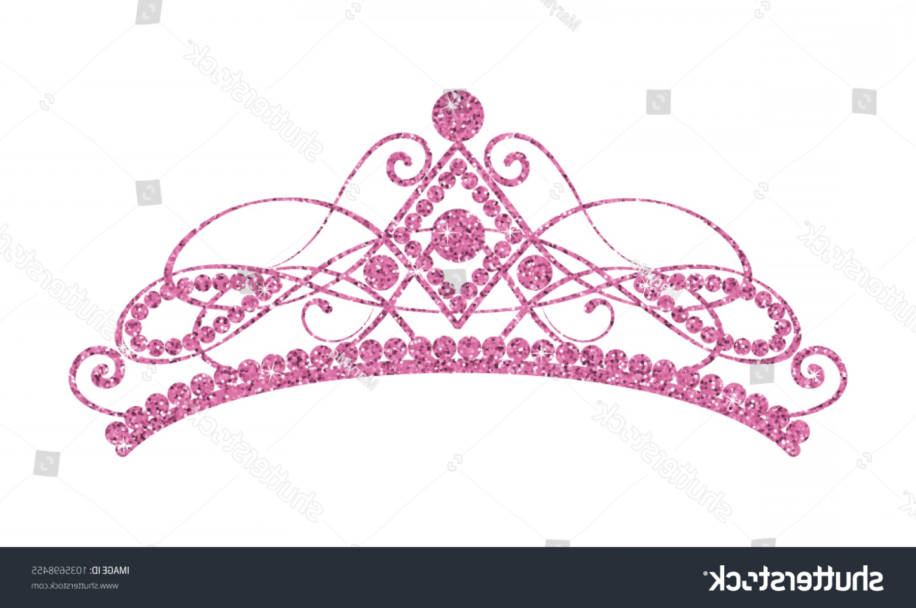 Pageant Tiaras Vector: Glittering Diadem Pink Tiara Isolated On