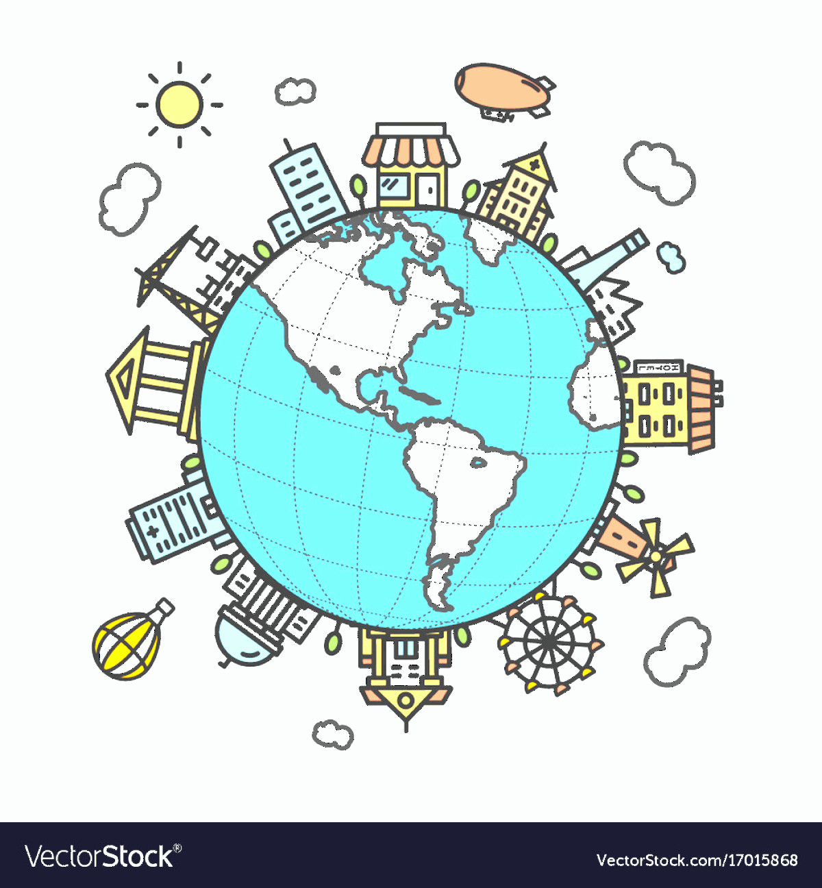 Earth With Buildings Vector: Globe And Building Around Vector