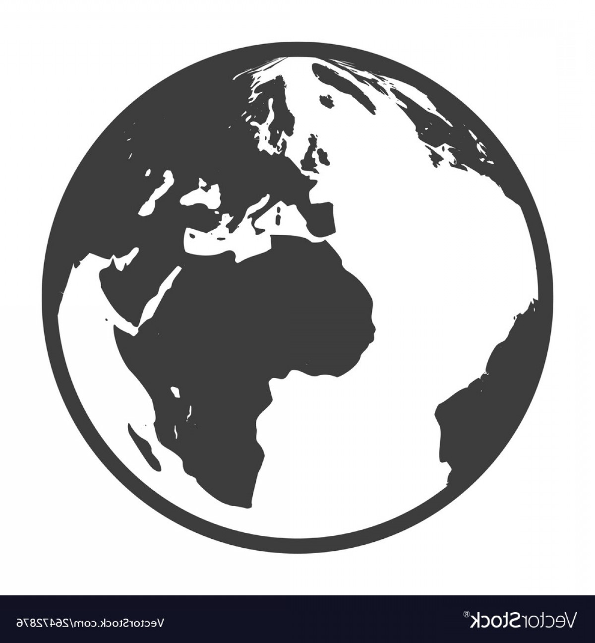 Erth Vector: Globe Black Icon Geography And Planet Earth Vector