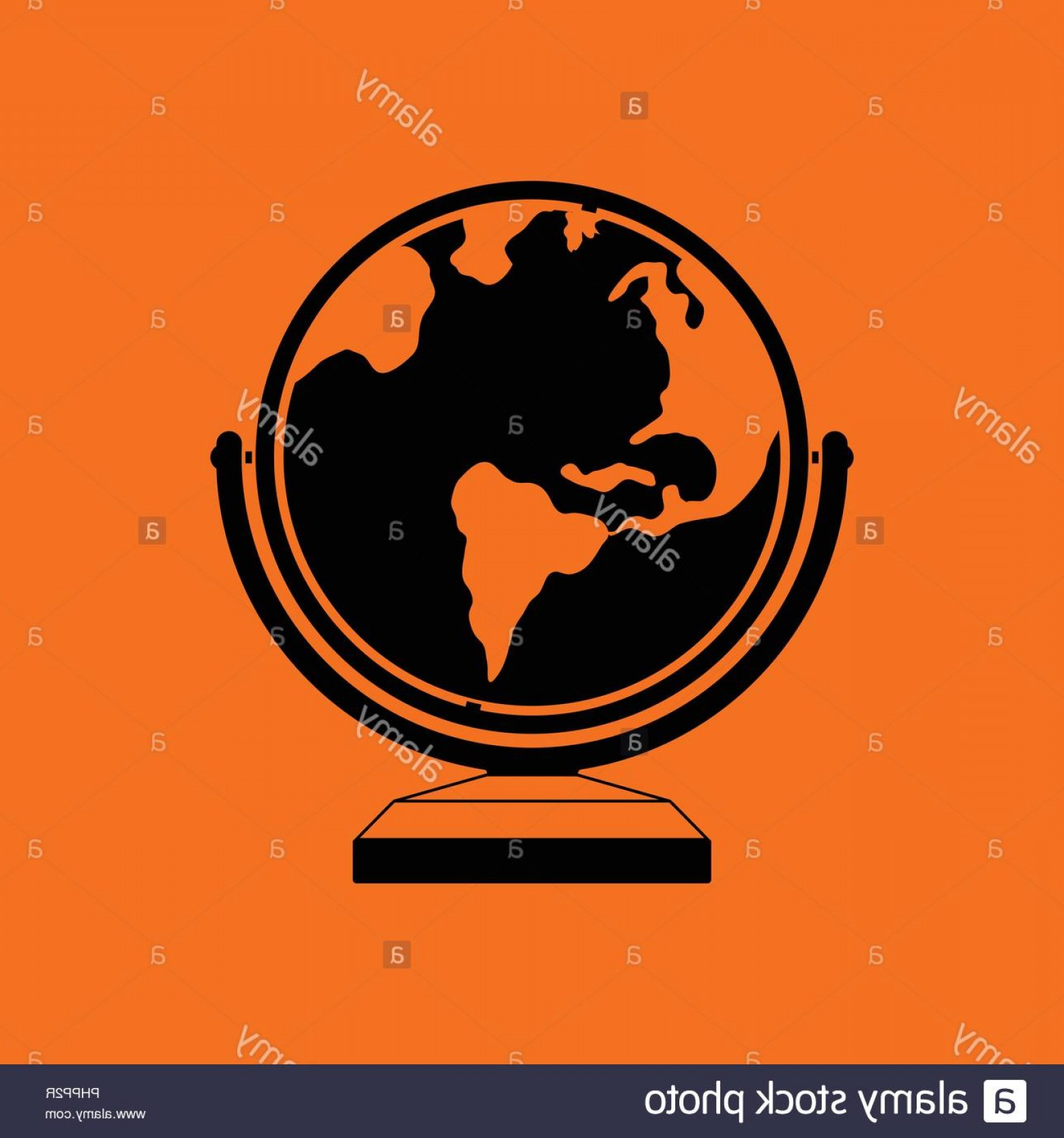 Abstract Vector Art Globe TV: Globe Icon Orange Background With Black Vector Illustration Image